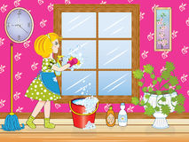 Cleaning the window. A little girl cleaning the window royalty free illustration