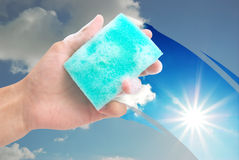 Cleaning window Royalty Free Stock Photography