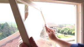 Cleaning window stock video