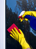 Cleaning window spray. Female in yellow gloves cleaning window with blue spray and red microfibre stock photos
