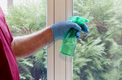 Cleaning windows Royalty Free Stock Image
