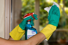 Cleaning windows Royalty Free Stock Images