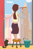 Cleaning windows cartoon Royalty Free Stock Images