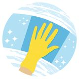Cleaning windows. House cleaning services icon. Cleaning windows. House cleaning services vector icon royalty free illustration