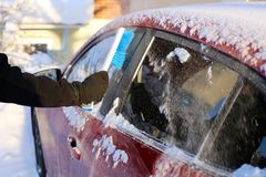 Brushing Snow off from the Windows of a Red Car. Cleaning the windows of a red car during winter. There is some snow on top of the car and a person is brushing stock photography
