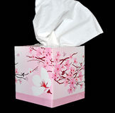 Cleaning wipes. Tissue colored flowered box on black royalty free stock images