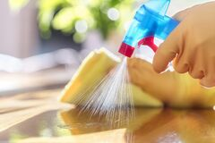 Free Cleaning With Spray Detergent, Rubber Gloves And Dish Cloth On Work Surface Royalty Free Stock Photos - 171015108