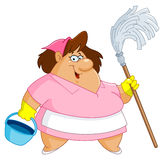 Cleaning woman. Illustration of a cleaning woman Royalty Free Stock Images