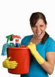 Cleaning woman. With a cleanser royalty free stock photos