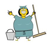 Cleaning Woman. Cartooned illustration of cleaning woman with smile at face Stock Photo