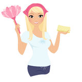 Cleaning woman. Blonde cleaning woman with spray and sponge Stock Image