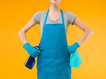 Cleaning woman getting ready for work Stock Photo