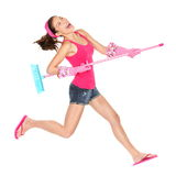 Cleaning woman happy jumping Royalty Free Stock Photography