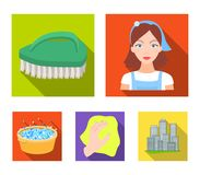 A cleaning woman, a housewife in an apron, a green brush, a hand with a rag, a blue wash hand basin with foam. Cleaning. Set collection icons in flat style Royalty Free Stock Photography