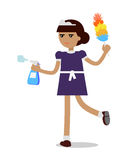 Cleaning Woman in Maid Uniform Royalty Free Stock Photography