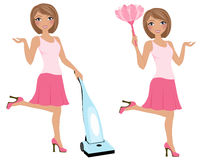Cleaning woman pose set Stock Photo