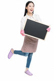 Cleaning woman showing blank sign board. Chinese cleaning woman showing sign poster cleaning isolated on white background Stock Photography