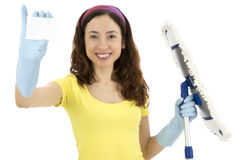 Cleaning woman showing blank sign card Stock Images
