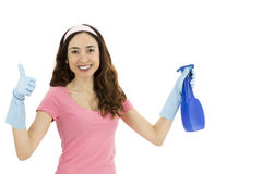 Cleaning woman showing thumbs up. Happy cleaning woman showing thumbs up Stock Image