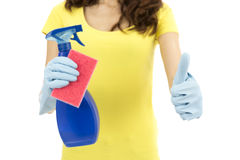 Cleaning woman showing thumbs up Stock Photography