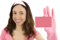 Cleaning woman with a sign card Stock Image