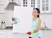 Cleaning woman sign Royalty Free Stock Images