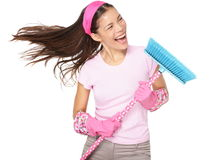 Cleaning woman singing stock photo