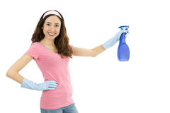 Cleaning woman with a spray bottle in her hand Royalty Free Stock Images