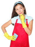 Cleaning woman thinking stock photos