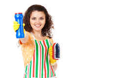 Cleaning woman on white Stock Photography