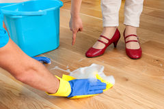 Cleaning wooden floor Royalty Free Stock Image