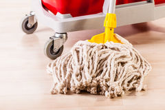Cleaning wooden floor with mop Royalty Free Stock Image