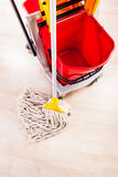 Cleaning a wooden floor Royalty Free Stock Image