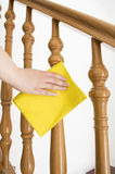 Cleaning wooden railing Royalty Free Stock Photo