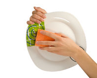 Cleaning work. Women hands, washing the dishes Stock Images
