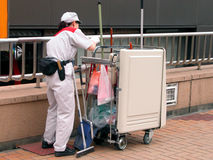 Cleaning worker. In a city Royalty Free Stock Photos