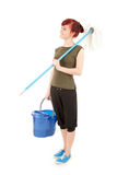 Cleaning worker girl with mop ready to cleaning fl Royalty Free Stock Images