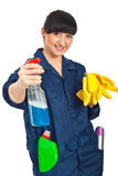 Cleaning worker woman ready for work Royalty Free Stock Photography