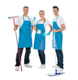 Cleaning Workers With Cleaning Equipments royalty free stock image