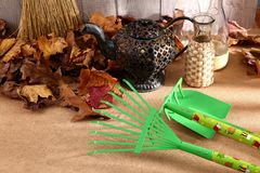 When the spring or autumn season comes, it`s time to organize the garden. During cleaning works, various garden tools are useful which shorten the working time Stock Image
