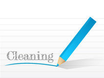 Cleaning written on a piece of notepad paper. Stock Photography