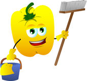 Cleaning yellow bell pepper Stock Image