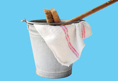 Cleaning with zinc bucket Stock Photography