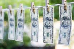 cleaningdryingeuros som tvättar pengar som tvättar sig upp PenningtvättUS dollar som ut hängs för att torka 100 dollarräkningar s royaltyfri fotografi
