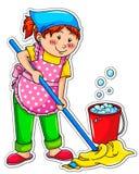 cleaningflicka vektor illustrationer