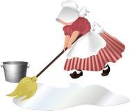 cleaninggolvkvinna Arkivfoto
