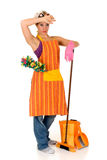 cleaninghemmafru Royaltyfri Bild