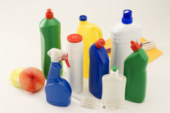 cleaninghushållprodukter Royaltyfria Bilder