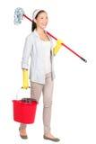 Cleaningkvinna royaltyfri foto
