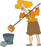 cleaningkvinna royaltyfri illustrationer